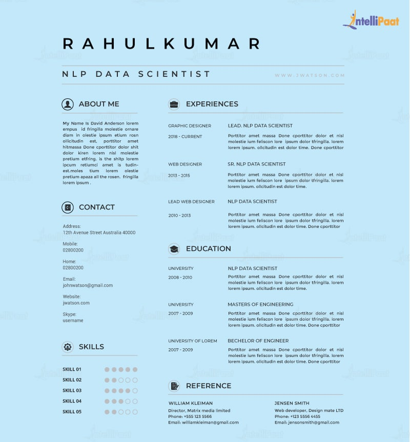 Data Science Resume of an Experienced Professional
